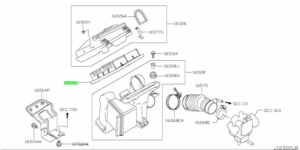 Genuine Nissan 165466A0A0 - ELEMENT ASSEMBLY, AIR