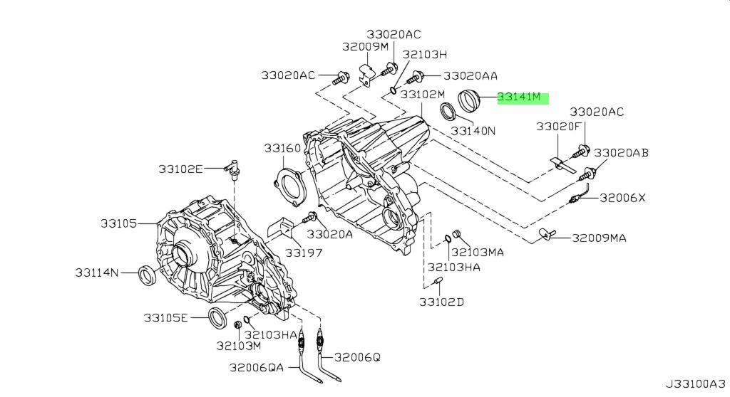 Nissan 331417S11A - COVER-DUST,TRANSFER