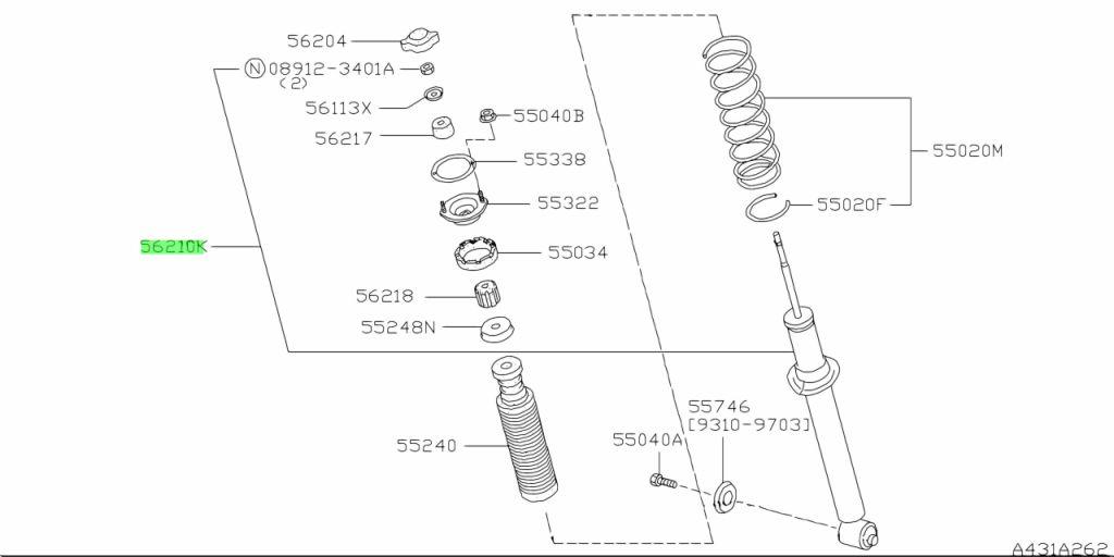 Genuine Nissan 5621019U27 - ABSORBER KIT, SHOCK REAR