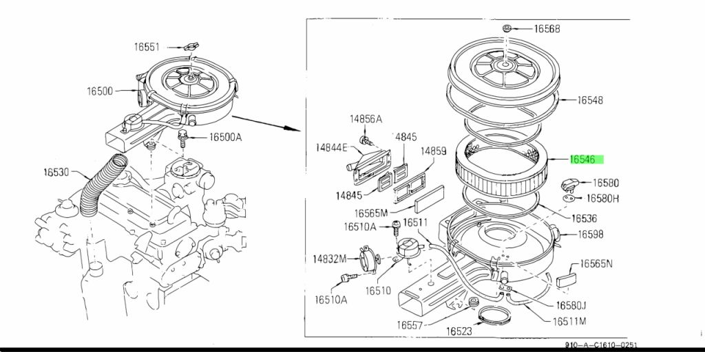 Genuine Nissan AY120NS008 - ELEMENT ASSEMBLY, AIR