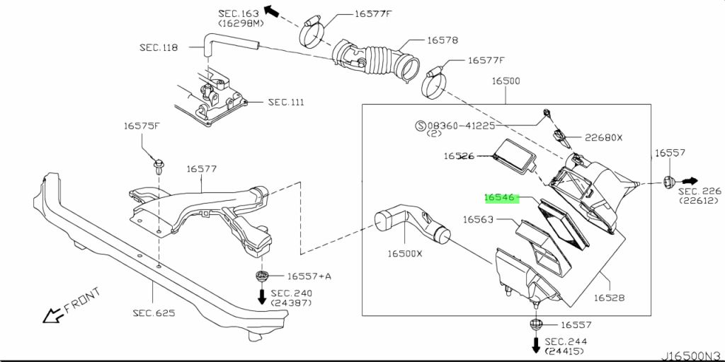 Genuine Nissan AY120NS045 - ELEMENT ASSEMBLY, AIR