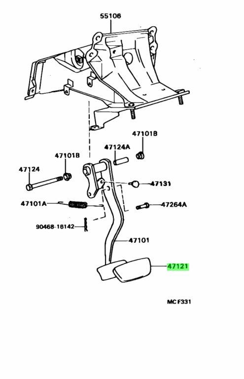 Genuine Toyota 4712130050 - PAD, BRAKE PEDAL