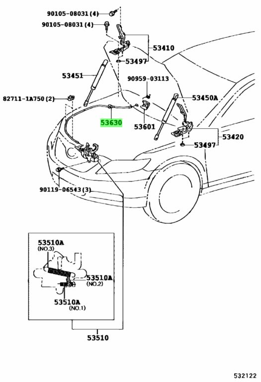 Genuine Toyota 5363033140 - CABLE ASSY, HOOD LOCK CONTROL