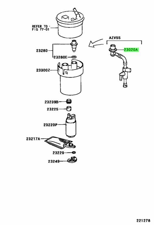 23020-74010 Toyota Regulator assy fuel pressure w//jet pump 2302074010 New Genu