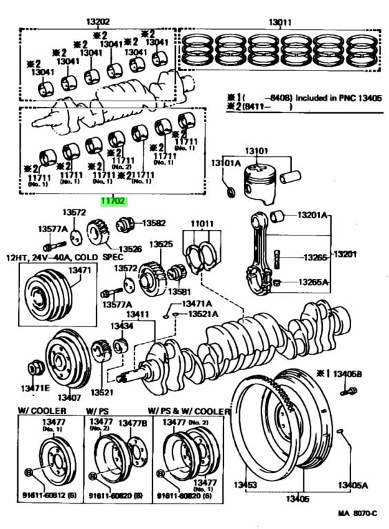 Genuine Toyota 1170756020 - BEARING SET, CRANKSHAFT